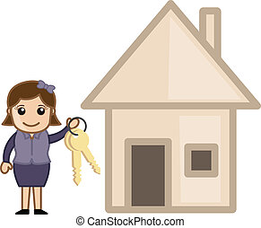 Girl Presenting Keys of House - Buy a House - Real Estate...