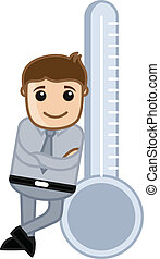Man Standing with Thermometer Vector