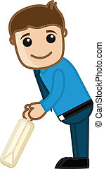 Cartoon Cricket Player Character - Cartoon Vector Character...