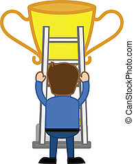 Man Climbing on Victory Cup