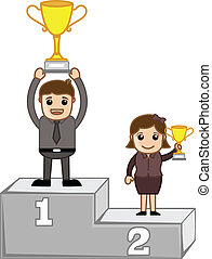 Cartoon Winners on Podium