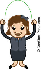 Girl Skipping Rope Vector