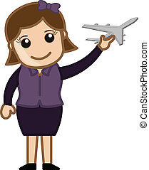 Girl Playing with Toy Plane Vector
