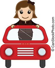 Happy Girl in Red Car Vector - Cartoon Vector - Girl in Red...