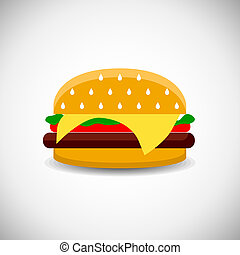 Cheeseburger - Vector cheeseburger with onion lettuce and...