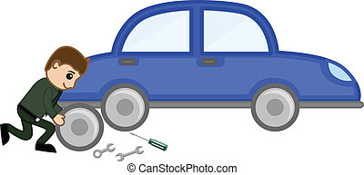 Serviceman Repairing the Car
