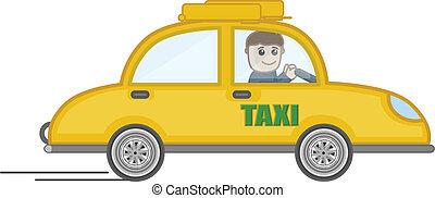 taxi,  vector, caricatura, Ilustración