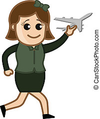 Girl Playing with Toy Plane - Cartoon Vector - Toy Areoplane