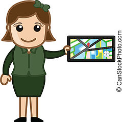 Girl Presenting GPS Device Vector