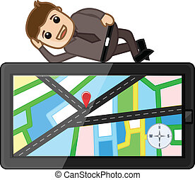 Salesman with GPS Tablet Device - Man Laying on GPS Map...