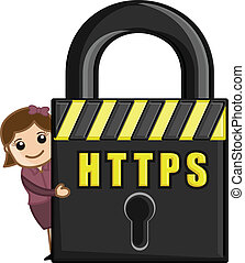 Girl Presenting HTTPS Security - HTTPS - Cartoon Vector...