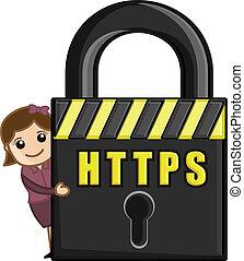 Girl Presenting HTTPS Security - HTTPS - Cartoon Vector...