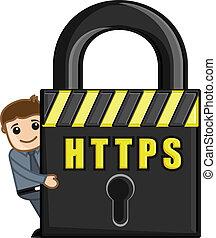 HTTPS Icon - Cartoon Vector - Man Hiding Behind HTTPS...