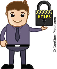 Man Presenting HTTPS Security - HTTPS Secure Site - Cartoon...