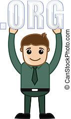Businessman Showing Dot ORG Text - Dot Org Text - Cartoon...