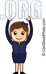 Girl Showing Dot Org Text Vector - Dot Org Text - Cartoon...