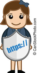 Girl Showing HTTPS Secure Shield - Secure HTTPS Shield -...