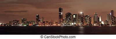 Miami downtown by night - View on Miami downtown from the...