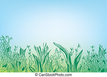 Summer grass border banner - hand drawn design
