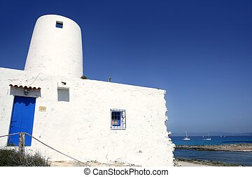 Balearic islands architecture white mill in Formentera over...