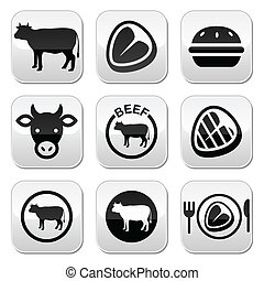 Beef meat, cow vector buttons set - Food buttons set - beef,...
