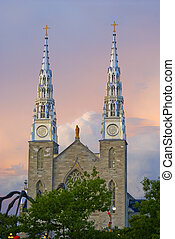 Notre-Dame Cathedral Basilica in Ottawa, Ontario, Canada -...