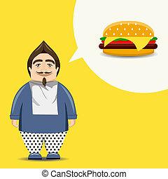 Character - Fast food, burger hamburger , full mouth Funny...