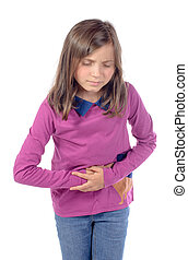 little girl has a stomach ache on white background