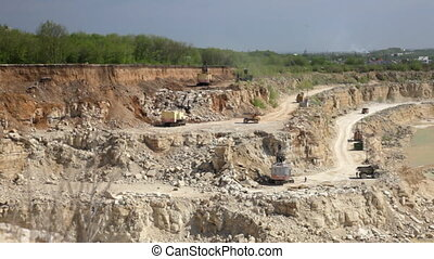 Production of a natural construction stone in an open pit....