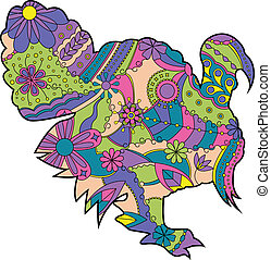 Colorful turkey - vector illustration of colorful turkey