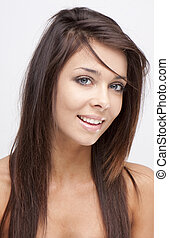 beauty smile - Portrait of young adult woman with health...