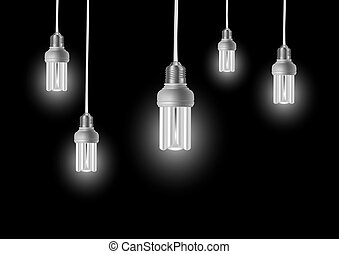Energy saving bulbs with cords - Illustration of energy...