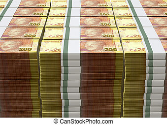 Rand Notes Pile - A pile of stacked wads of south african...