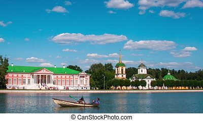 Sheremetyev palace to Kuskovo and a pond with boats in the...
