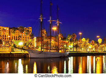 Night shot of Port Vell Barcelona, Spain - Night shot of...