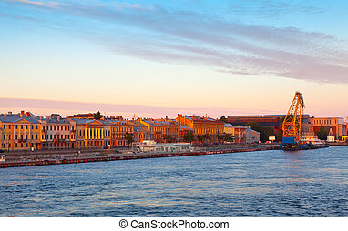 English Embankment in morning - view of St. Petersburg....