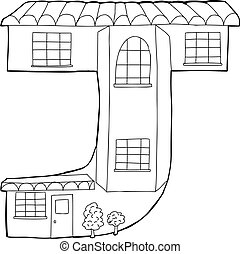 quot;Jquot; Town House Outline - Townhouse in the outline of...