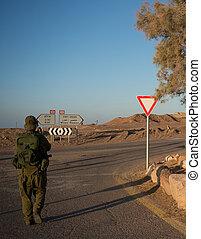 Soldiers patrol in desert - Israeli army patrol in middle...