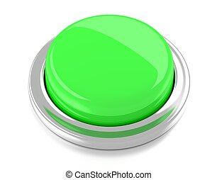 Blank green push button. 3d illustration. Isolated background.