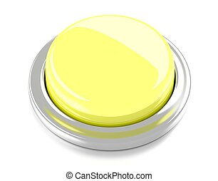 Blank yellow push button. 3d illustration. Isolated background.