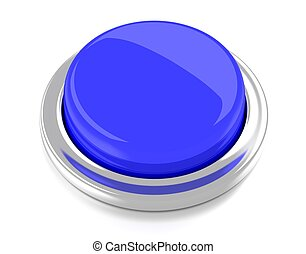 Blank blue push button 3d illustration Isolated background...