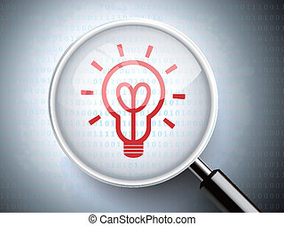 magnifying glass with red light bulb icon