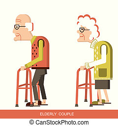 Elderly people with walking sticks - pensioners with walking...