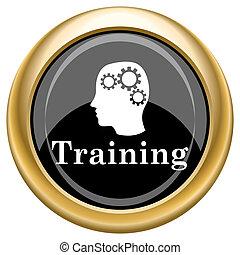 Training icon - Black shiny glossy icon on white background.