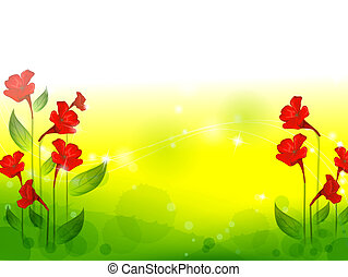 red flower with lawn