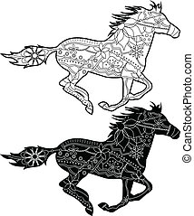 black horses - vector set of painted black horses