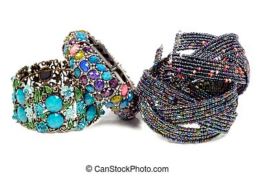 Bracelets - Colorful gem bracelets , on a white background