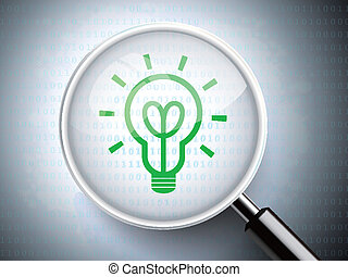 magnifying glass with light bulb icon