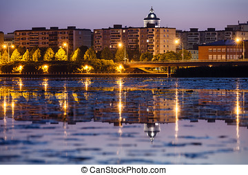 Small Town Skyline - Nightscene of Hämeenlinna in Finland...