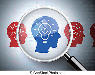 magnifying glass with light bulb on heads icon